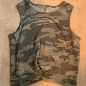 Tops - camo tank top with tie detail
